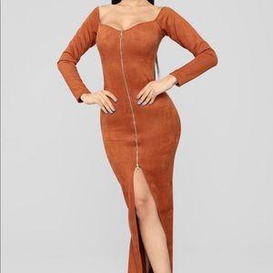 Suede  Maxi Dress - Camel